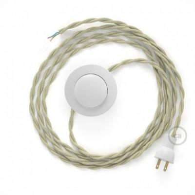 Cableado para lámpara de piso, cable TC43 Algodón Gris Pardo 3 m. Elige tu el color de la clavija y del interruptor!
