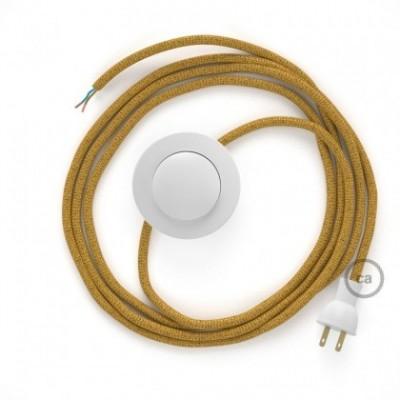 Cableado para lámpara de piso, cable RL05 Rayón Brillante Dorado 3 m. Elige tu el color de la clavija y del interruptor!