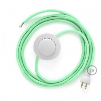 Cableado para lámpara de piso, cable RC34 Algodón Verde Menta 3 m. Elige tu el color de la clavija y del interruptor!