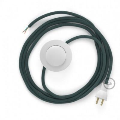 Cableado para lámpara de piso, cable RC30 Algodón Gris Piedra 3 m. Elige tu el color de la clavija y del interruptor!