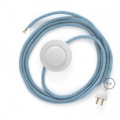 Cableado para lámpara de piso, cable RD75 ZigZag Azul Steward 3 m. Elige tu el color de la clavija y del interruptor!