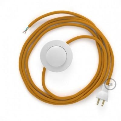 Cableado para lámpara de piso, cable RM25 Rayón Mostaza 3 m. Elige tu el color de la clavija y del interruptor!