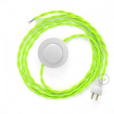Cableado para lámpara de piso, cable TF10 Rayón Amarillo Fluo 3 m. Elige tu el color de la clavija y del interruptor!