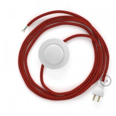 Cableado para lámpara de piso, cable RT94 Rayón Red Devil 3 m. Elige tu el color de la clavija y del interruptor!