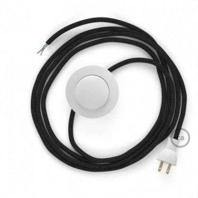 Cableado para lámpara de piso, cable RL04 Rayón Brillante Negro 3 m. Elige tu el color de la clavija y del interruptor!
