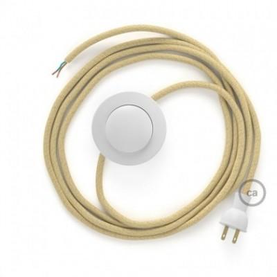 Cableado para lámpara de piso, cable RN06 Yute 3 m. Elige tu el color de la clavija y del interruptor!