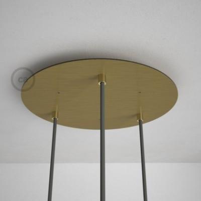 Escudo XXL circular 35cm a 3 agujeros latón satinado completo de accesorios