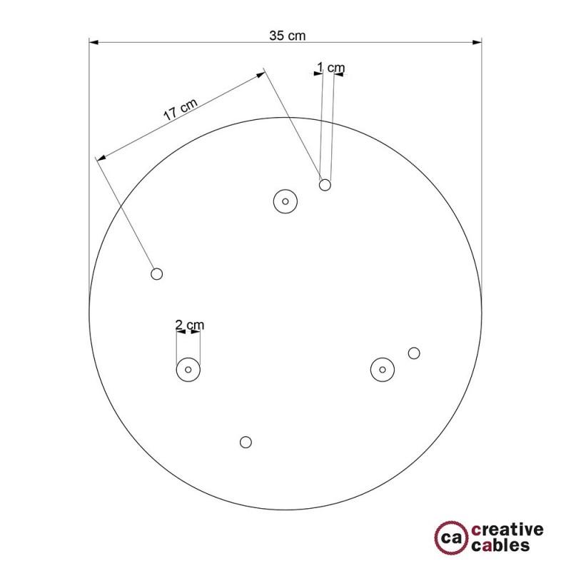 Escudo XXL circular 35cm a 4 agujeros latón satinado completo de accesorios