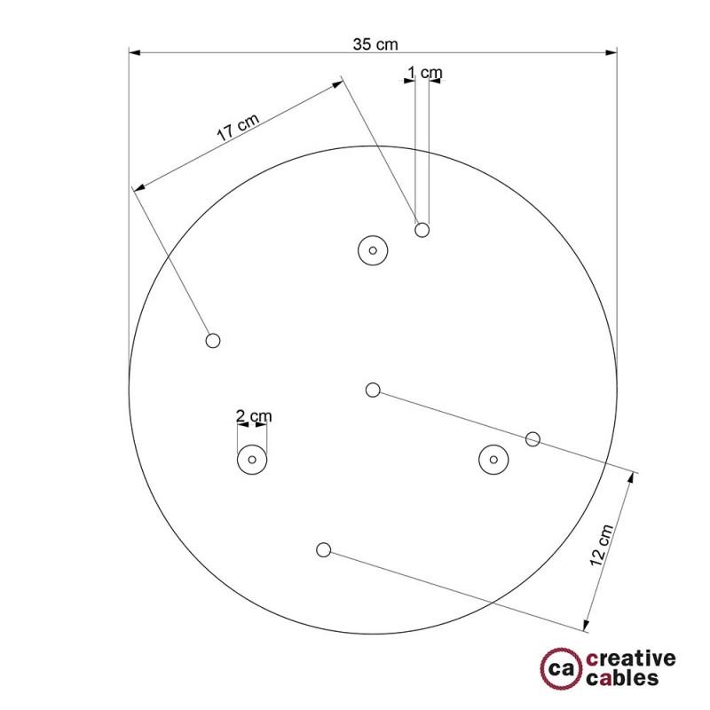 Escudo XXL circular 35cm a 5 agujeros latón satinado completo de accesorios