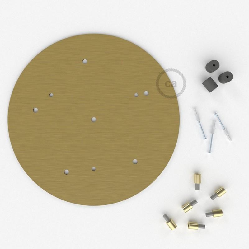 Escudo XXL circular 35cm a 6 agujeros latón satinado completo de accesorios