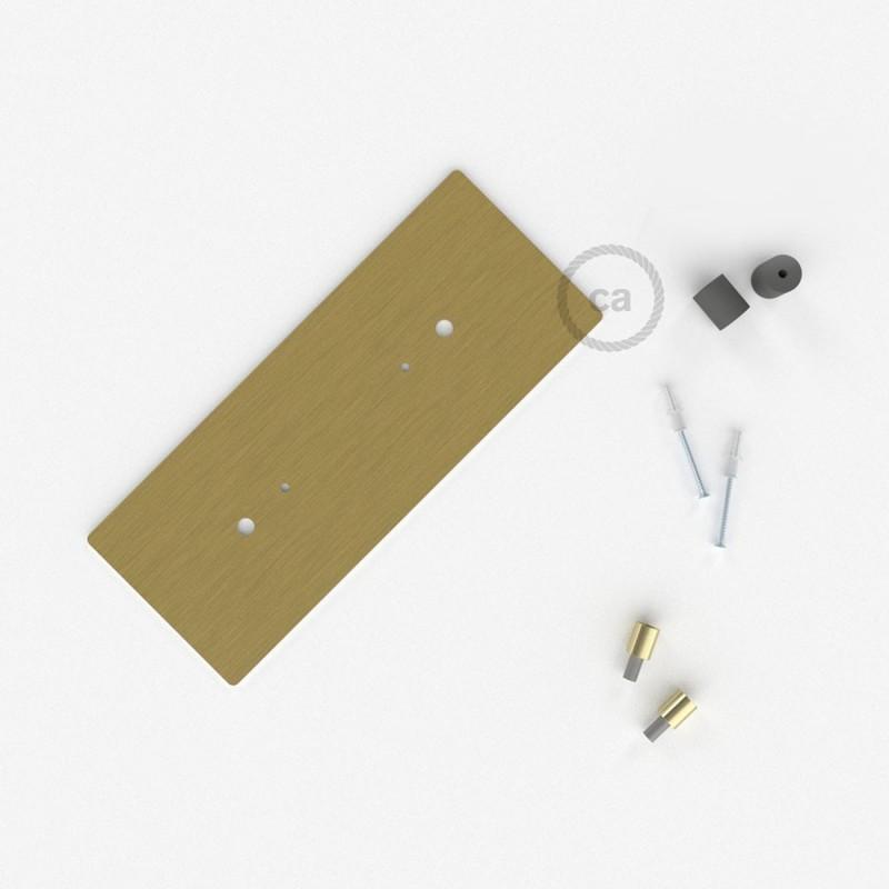 Escudo XXL rectangular 30x12cm a 2 agujeros latón satinado completo de accesorios