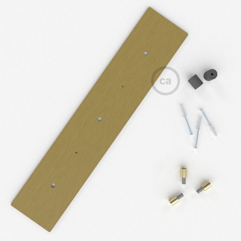 Escudo XXL rectangular 60x12cm a 3 agujeros latón satinado completo de accesorios