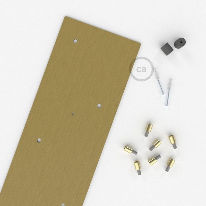 Escudo XXL rectangular 90x20cm a 7 agujeros latón satinado completo de accesorios
