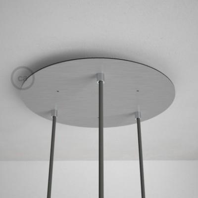 Escudo XXL circular 35cm a 3 agujeros acero satinado completo de accesorios