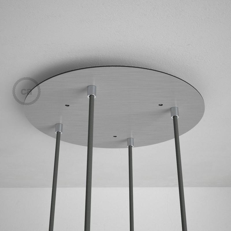 Escudo XXL circular 35cm a 4 agujeros acero satinado completo de accesorios