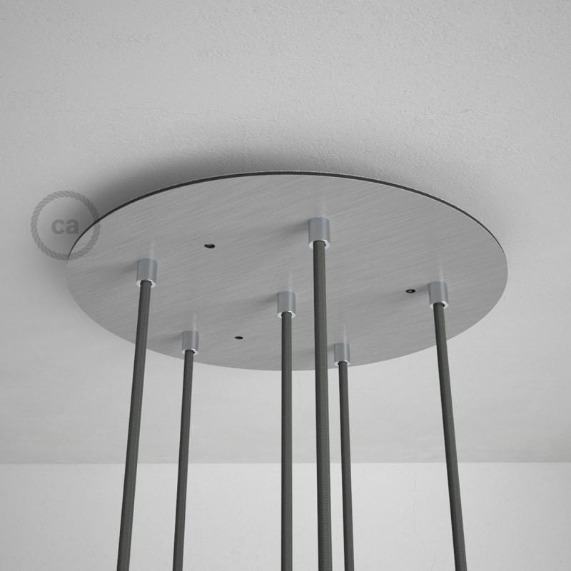 Escudo XXL circular 35cm a 6 agujeros acero satinado completo de accesorios