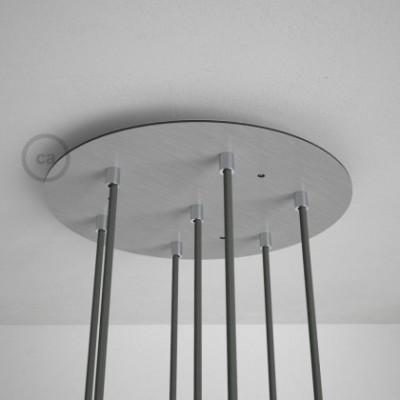 Escudo XXL circular 35cm a 7 agujeros acero satinado completo de accesorios