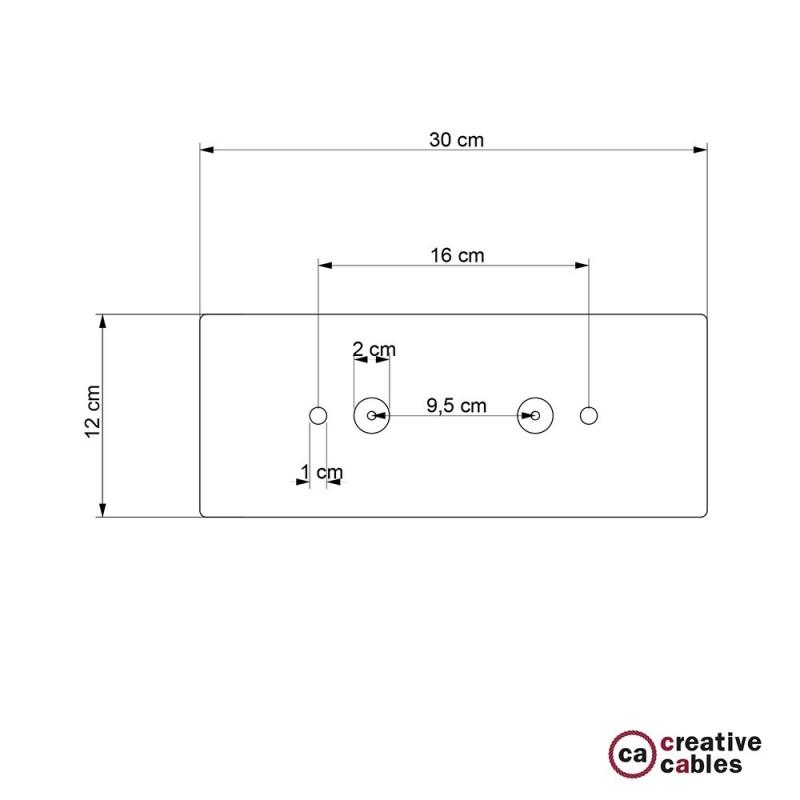 Escudo XXL rectangular 30x12cm a 2 agujeros acero satinado completo de accesorios