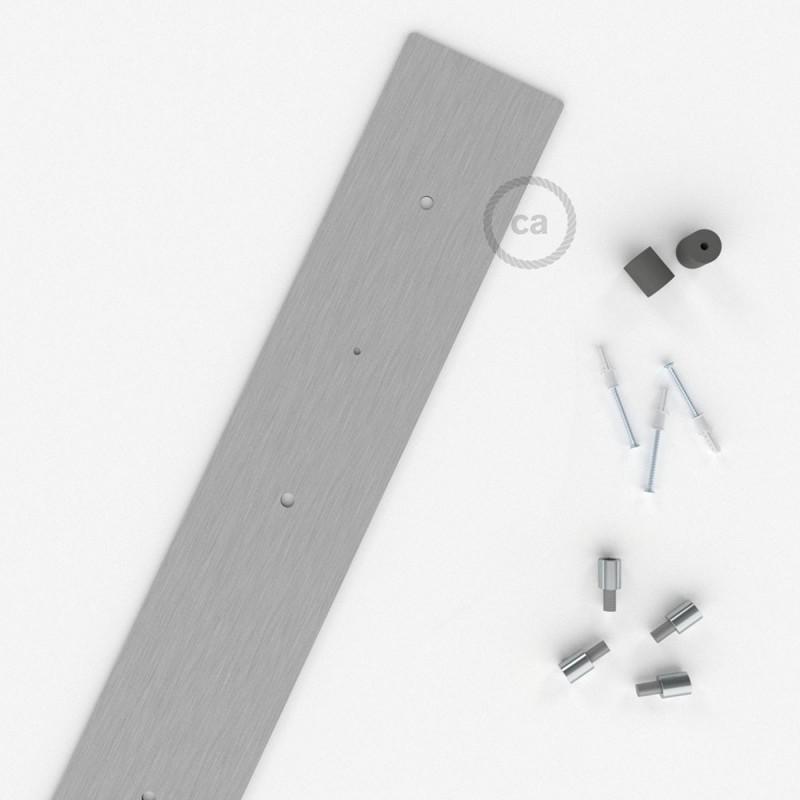 Escudo XXL rectangular 90x12cm a 4 agujeros acero satinado completo de accesorios