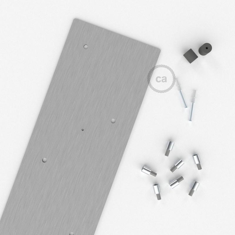 Escudo XXL rectangular 90x20cm a 7 agujeros acero satinado completo de accesorios