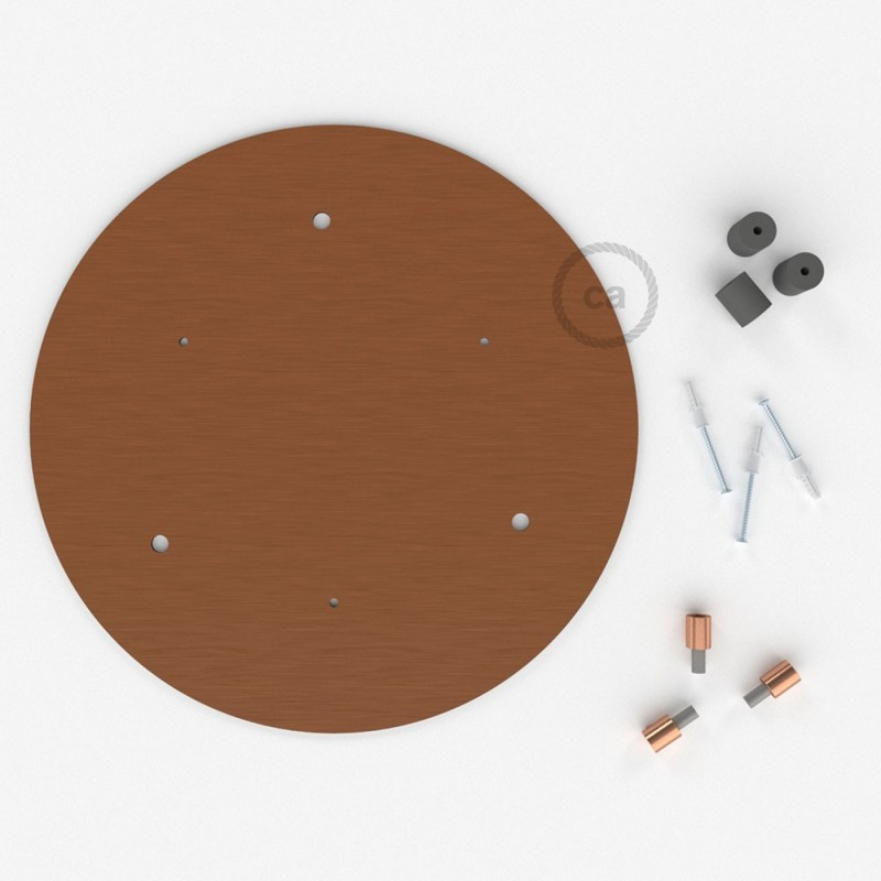 Escudo XXL circular 35cm a 3 agujeros cobre satinado completo de accesorios