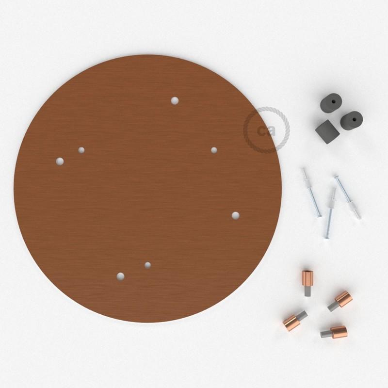 Escudo XXL circular 35cm a 4 agujeros cobre satinado completo de accesorios