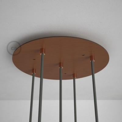 Escudo XXL circular 35cm a 5 agujeros cobre satinado completo de accesorios
