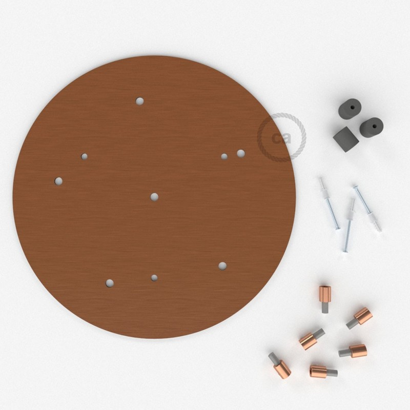 Escudo XXL circular 35cm a 6 agujeros cobre satinado completo de accesorios
