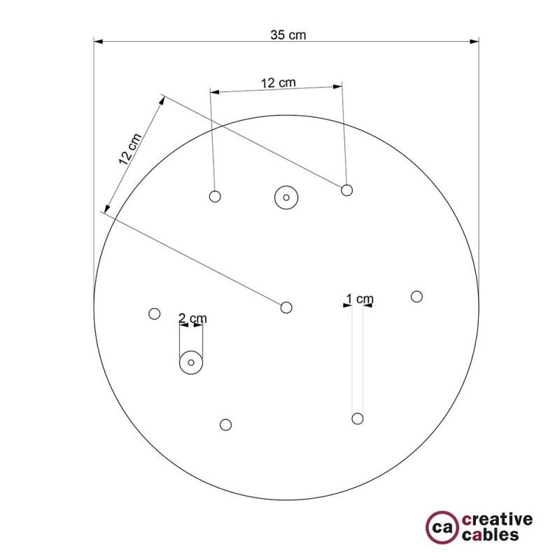 Escudo XXL circular 35cm a 7 agujeros cobre satinado completo de accesorios
