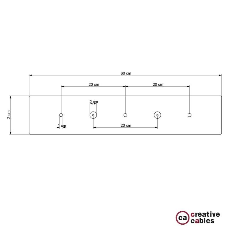 Escudo XXL rectangular 60x12cm a 3 agujeros cobre satinado completo de accesorios