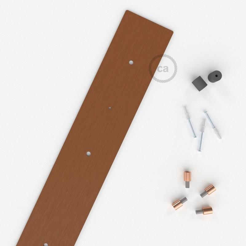 Escudo XXL rectangular 90x12cm a 4 agujeros cobre satinado completo de accesorios