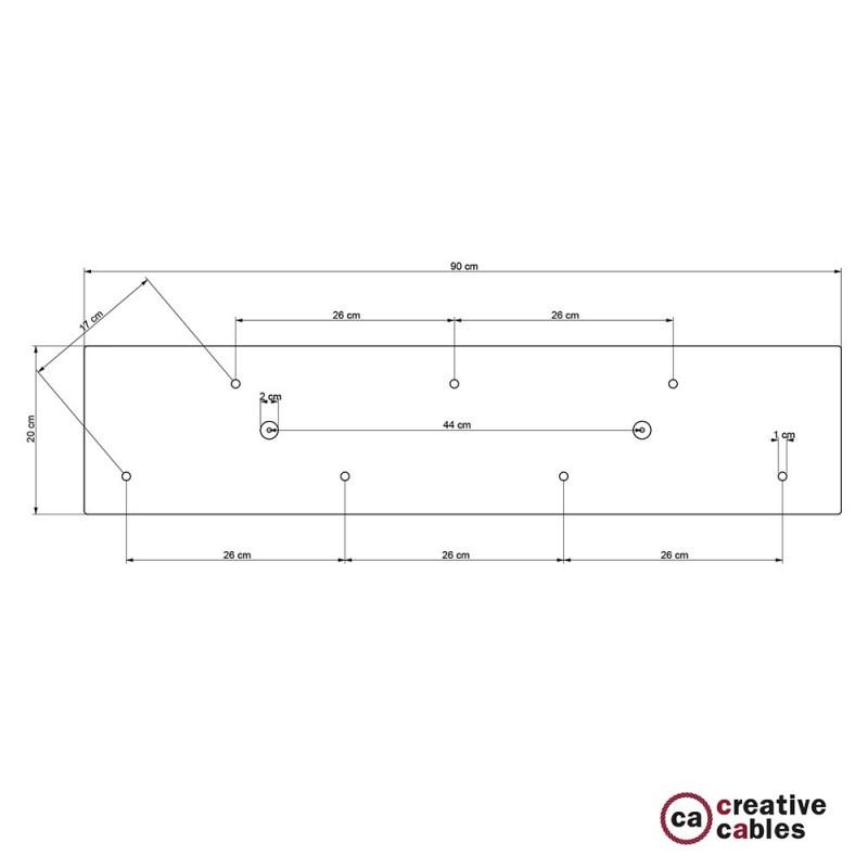 Escudo XXL rectangular 90x20cm a 7 agujeros cobre satinado completo de accesorios