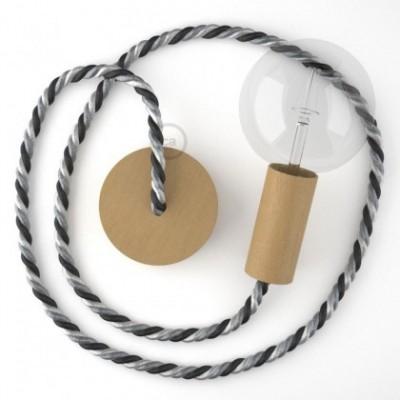 Lámpara colgante cordón náutico XL en tejido lucído Orleans 16 mm, acabados en madera natural, Made in Italy