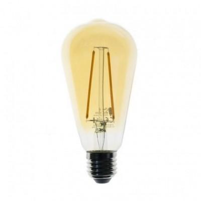 Bombilla dorada atenuable Edison ST64 LED de 4W filamento recto 2200ºK - Dimerizable