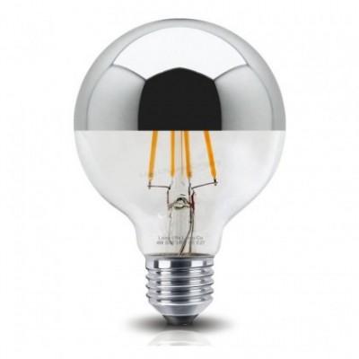 Bombilla LED Globo G80 plata y vidrio translúcido 4W Decorativa vintage 2200ªK