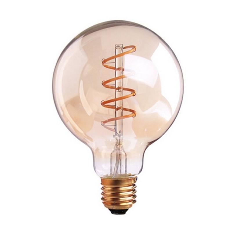 Bombilla dorada LED Globo G80 filamento en espiral 4W decorativa vintage 2200ºK