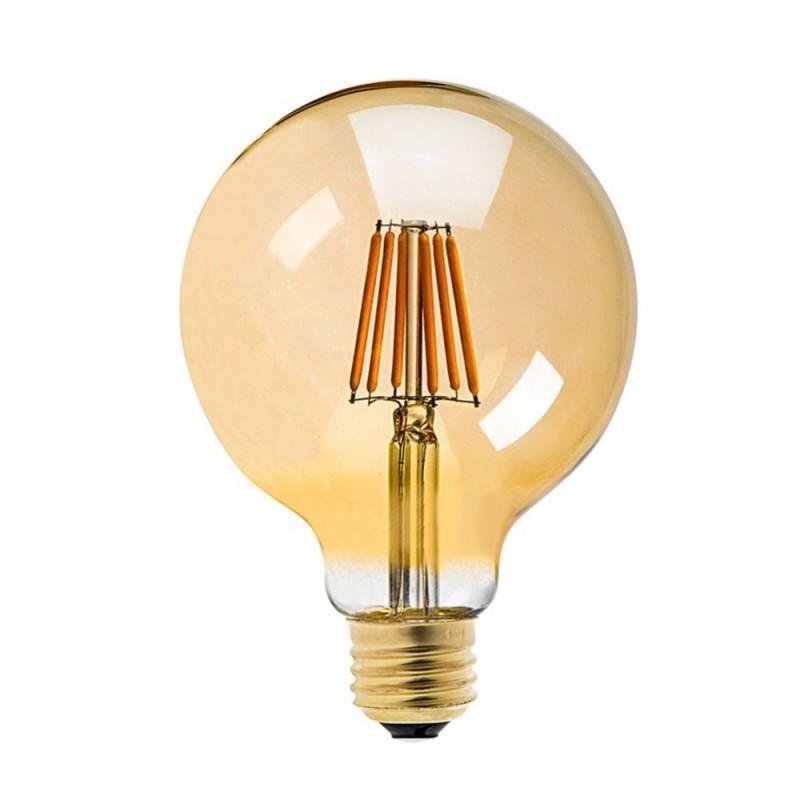 Bombilla dorada LED Globo G125 filamento largo 6W decorativa vintage 2200ºK