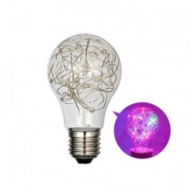 Bombilla A60 Twinkle decorativa luz multicolor en cristal transparente