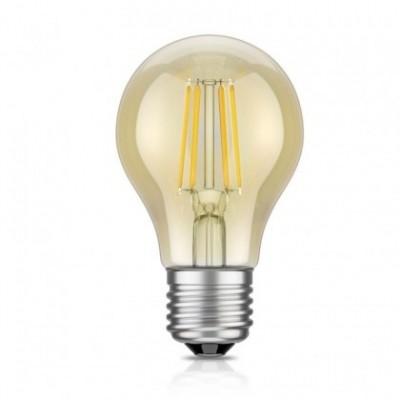 Bombilla dorada LED Globo estándar A60 filamento recto 4W Luz cálida 2200ºK
