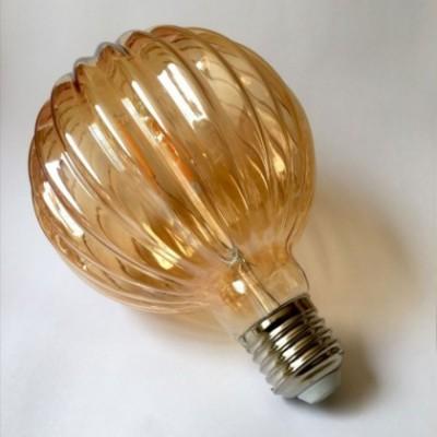 Bombilla dorada LED G102 estriada de 4W luz cálida 2200K
