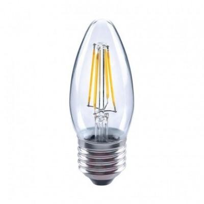 Bombilla clara LED Vela filamento recto de 4W para socket E27 - 3200ºK
