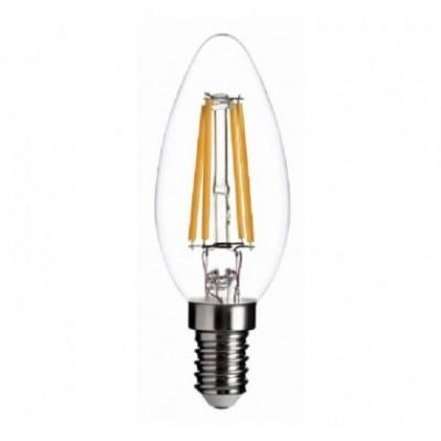 Bombilla clara LED Vela filamento recto de 4W para socket E14 - 3200ºK