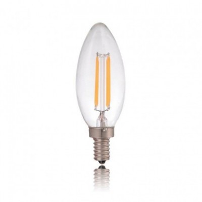 Bombilla clara LED Vela filamento recto de 4W para socket E12 (3200ºK) - LCO035