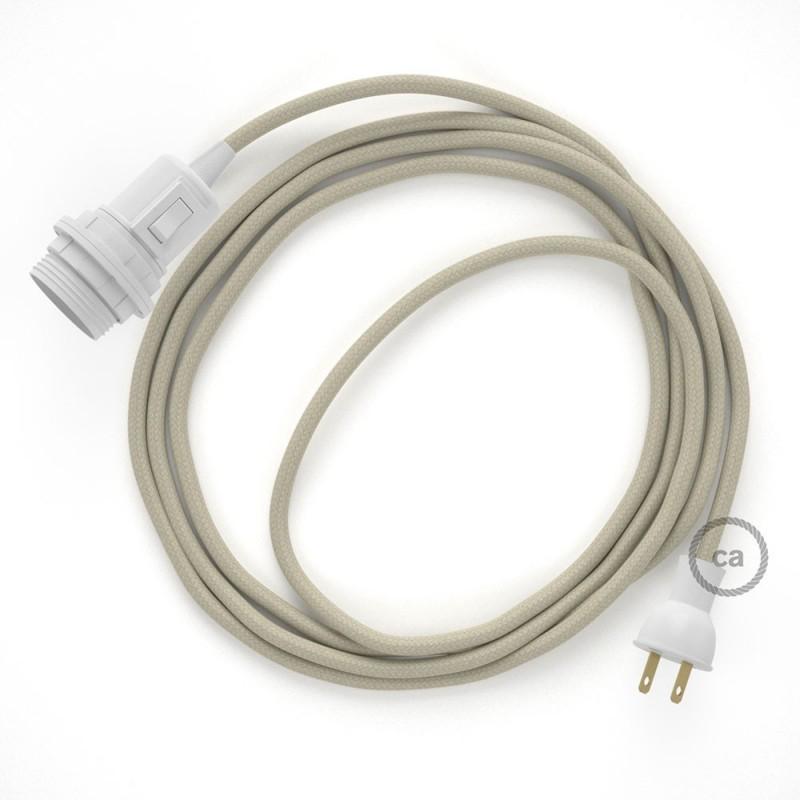 Crea tu Snake para pantalla con cable de Algodón Gris pardo RC43, socket y enchufe, y trae la luz donde tu quieras.