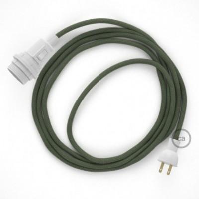 Crea tu Snake para pantalla con cable de Algodón Gris Verde RC63, socket y enchufe, y trae la luz donde tu quieras.