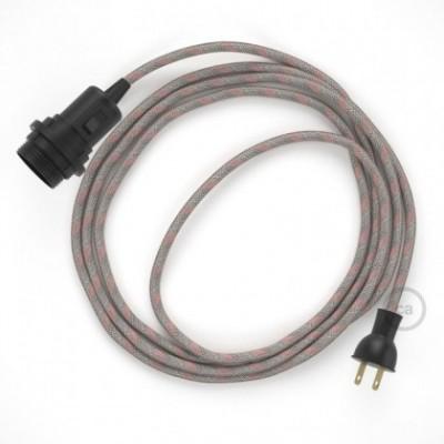 Crea tu Snake para pantalla con cable de Rayas Rosa Antiguo RD51, socket y enchufe, y trae la luz donde tu quieras.