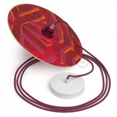 Suspensión UFO con pantalla de madera de doble cara ilustrada por Pistrice y cable textil Algodón Rojo Violeta RC32