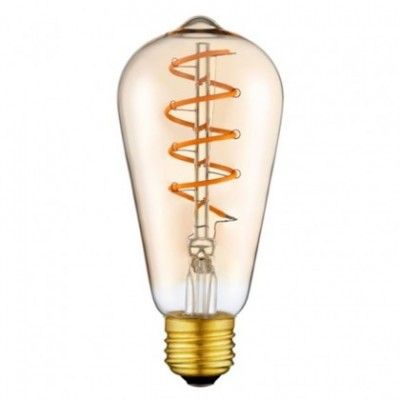 Bombilla dorada LED Edison ST64 filamento en espiral 3W 2200K