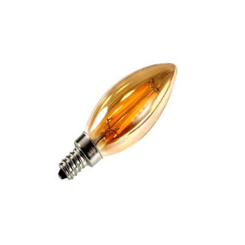 Bombilla ambar LED Vela C35 para socket E12 filamento recto de 4W - luz día 2700K