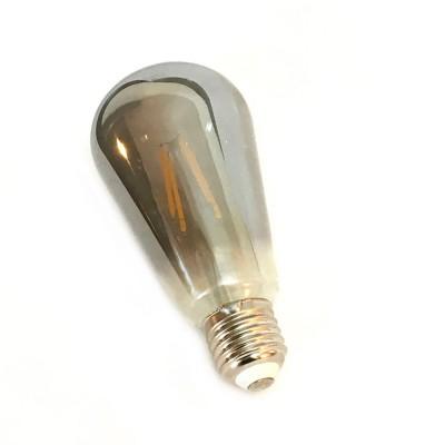 Bombilla gris especular LED Edison ST64 de 4W filamento recto 2700K